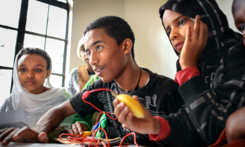Students in the Nairobi Play Project, which teaches computing to groups in or at risk of conflict